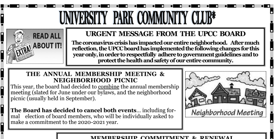 Attached below is the June 2020 UPCC Flyer.